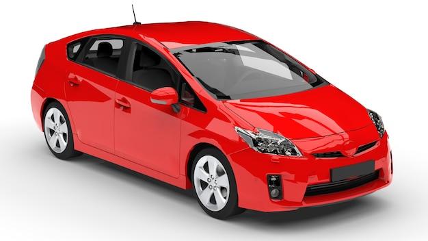 Moderne familie hybride auto rood op een witte achtergrond met een schaduw op de grond. 3d-weergave.
