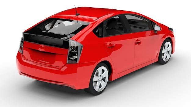 Moderne familie hybride auto rood op een witte achtergrond met een schaduw op de grond. 3d-weergave. Premium Foto