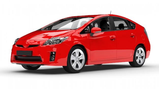 Moderne familie hybride auto rood op een witte ruimte met een schaduw op de grond. 3d-weergave.