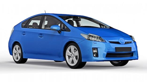 Moderne familie hybride blauwe auto op een wit oppervlak met een schaduw op de grond
