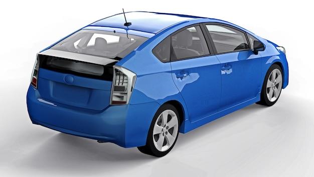 Moderne familie hybride blauwe auto op een witte achtergrond met een schaduw op de grond. 3d-rendering.