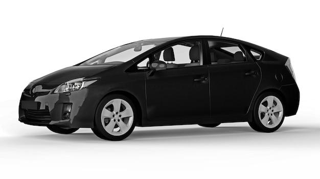 Moderne familie hybride zwarte auto op een witte achtergrond met een schaduw op de grond. 3d-rendering.