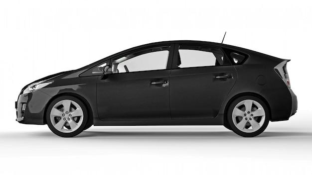Moderne familie hybride zwarte auto op een witte achtergrond met een schaduw ter plaatse. 3d-weergave