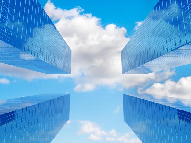 Moderne financiële gebouwen en wolken op blauwe hemel