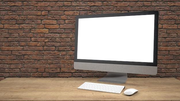 Moderne flatscreen computermonitor. / 3d-rendering