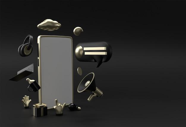 Moderne frameloze smartphone leeg schermsjabloon. abstracte trendy modieuze mockup. 3d-weergave van lege telefoon mobiele app.