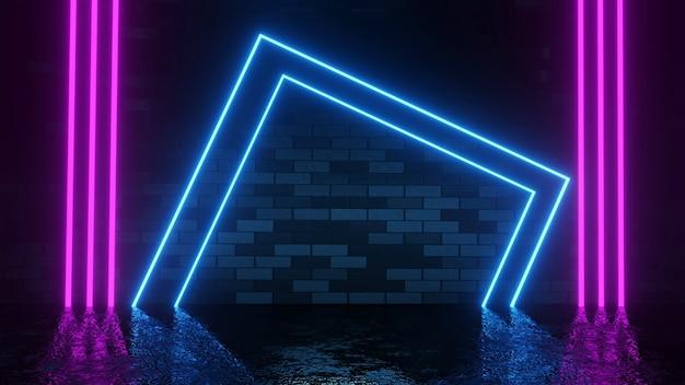 Moderne futuristische neonlichten op donkere bakstenen muur kamer achtergrond 3d-rendering wall