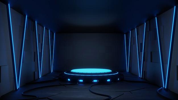 Moderne futuristische sci-fi achtergrond gratis foto met blauwe neon 3d-rendering.