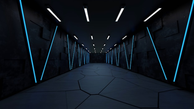 Moderne futuristische sci-fi achtergrond gratis foto met witte en blauwe neon 3d-rendering.