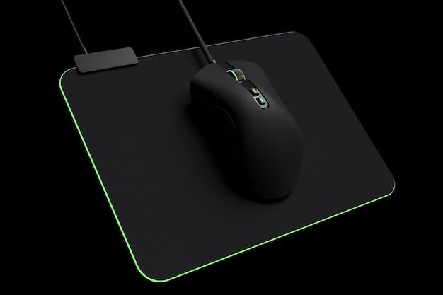 Moderne gaming muis op professionele pad geïsoleerd op zwarte achtergrond met uitknippad. 3d-rendering en live streaming-concept