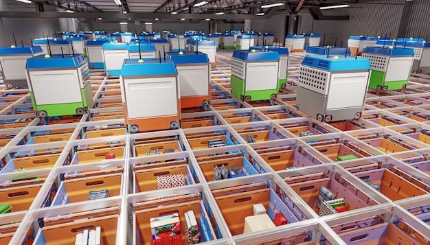 Moderne geautomatiseerde magazijnfabriek zonder menselijke aanwezigheid. 3d render.