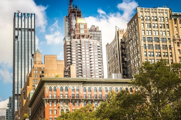 Moderne gebouwen in new york, verenigde staten