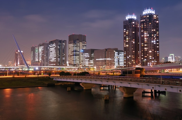 Moderne gebouwen van de wijk odaiba in tokio, japan, goed verlicht door de nacht