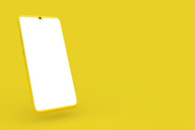 Moderne gele mockup mobiele telefoon in duotone-stijl met leeg scherm voor uw ontwerp op een gele achtergrond. 3d-rendering