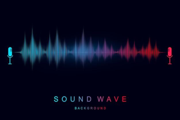 Moderne geluidsgolf-equalizer geluidsvisualisatie en futuristisch element muziek- en radioconcept