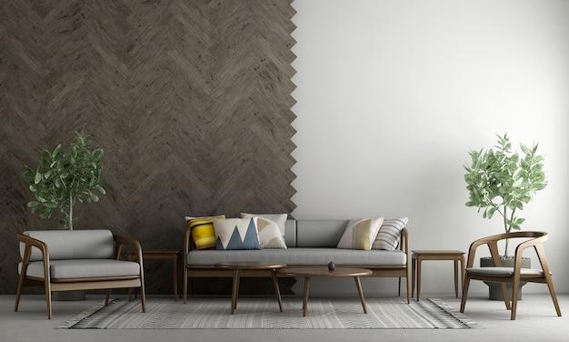 Moderne gezellige mock up decoratie interieur van woonkamer en houten en witte lege muur textuur achtergrond 3d-rendering
