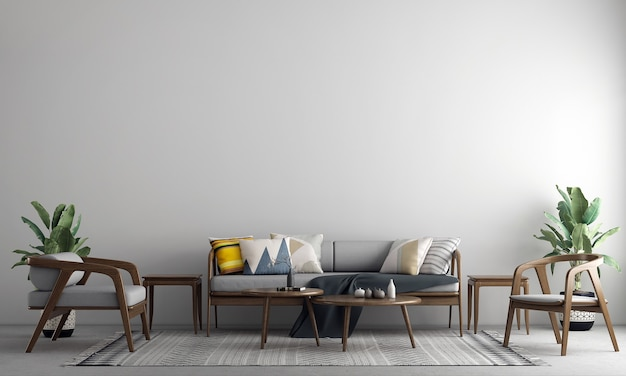 Moderne gezellige mock up decoratie interieur van woonkamer en witte lege muur textuur achtergrond 3d-rendering