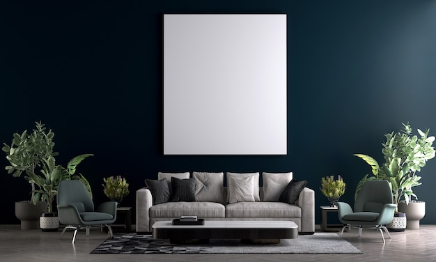 Moderne gezellige mock-up en decoratiemeubels van woonkamer en leeg canvas op blauwe muurtextuur achtergrond 3d-rendering