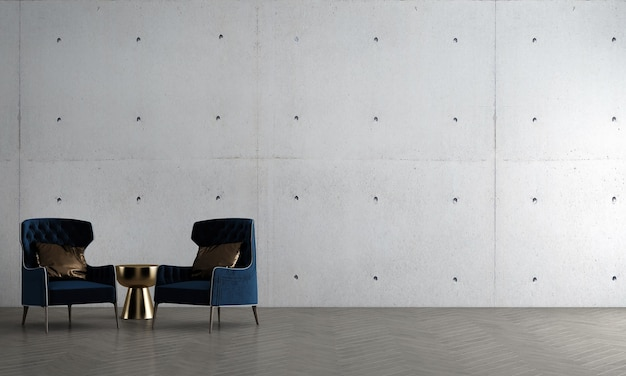 Moderne, gezellige mock-up interieurdecoratie en woonkamerontwerp en muurtextuurachtergrond en blauwe bank met gouden bijzettafel 3d-rendering