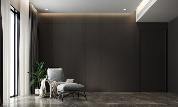 Moderne gezellige woonkamer en zwarte muur textuur achtergrond interieur 3d-rendering
