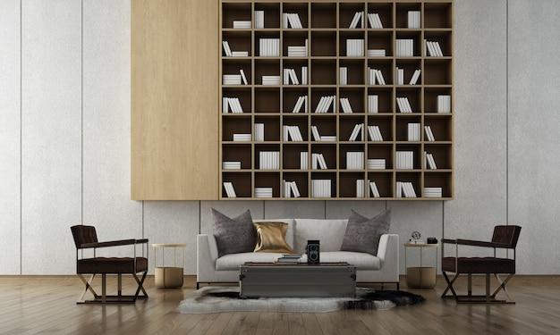 Moderne gezellige woonkamer interieur, witte bank op lege betonnen muur, scandinavische stijl, 3d render