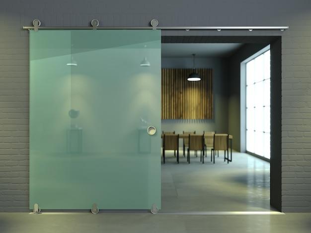 Moderne glazen schuifdeur in het kantoor