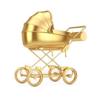 Moderne gouden kinderwagen, kinderwagen, kinderwagen mock up op een witte achtergrond. 3d-rendering