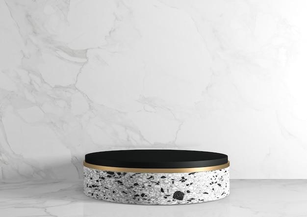 Moderne granieten achtergrond en podium tonen geometrisch cosmetisch product. 3d-weergave