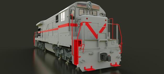 Moderne grijze dieseltreinlocomotief met veel kracht en kracht voor het rijden van lange en zware spoorwegtreinen. 3d-rendering.