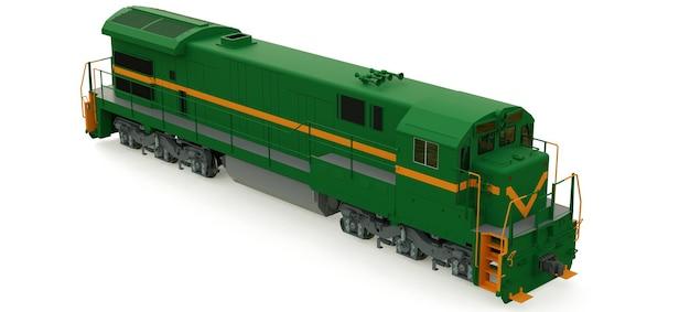 Moderne groene dieseltreinlocomotief met grote kracht en kracht voor het rijden van lange en zware treinstellen. 3d-rendering.