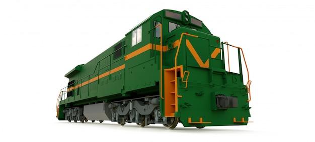 Moderne groene dieseltreinlocomotief met grote kracht en sterkte voor het verplaatsen van lange en zware spoorwegtrein