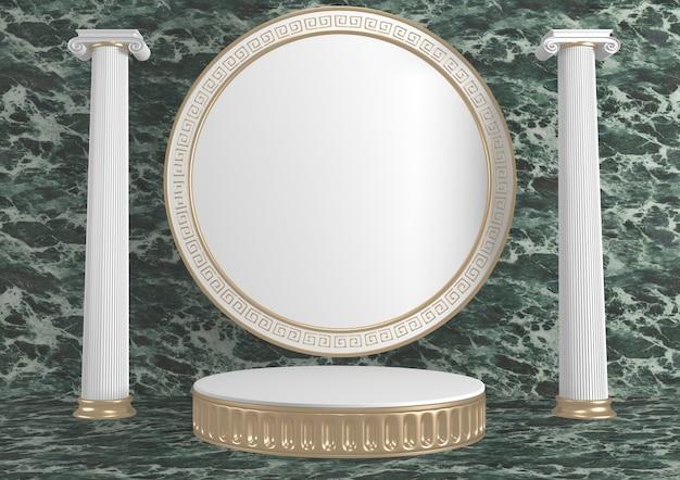 Moderne groene granieten achtergrond en podium tonen geometrisch cosmetisch product. 3d-weergave
