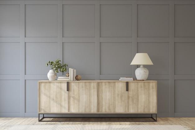 Moderne hal. dressoir dichtbij lege grijze paneelmuur. interieur mockup. 3d render.