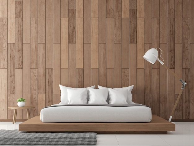 Moderne hedendaagse slaapkamer interieur 3d render versieren muur met houten plank