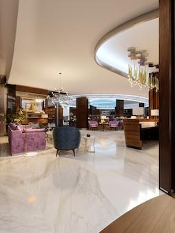 Moderne hotelvestibule en een luxe restaurant in het centrum met neonverlichting. 3d-rendering