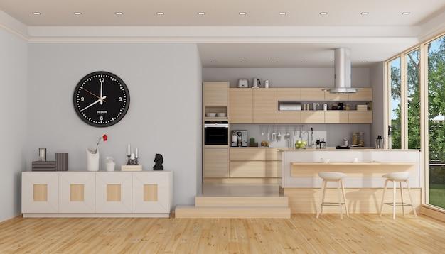 Moderne houten en witte keuken