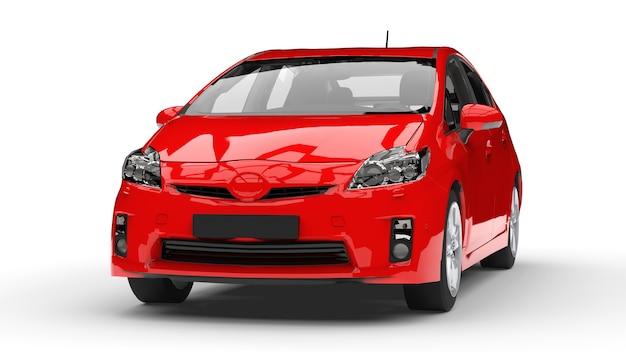 Moderne hybride gezinsauto rood op een witte achtergrond met een schaduw op de grond. 3d-rendering.