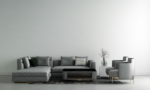 Moderne interieur design kamer en woonkamer en witte betonnen muur