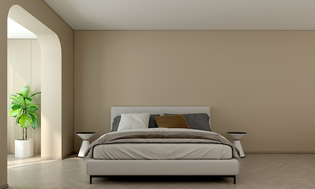 Moderne interieur kamer en slaapkamer en lege muur