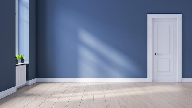 Moderne interieur lege ruimte, scandinavische stijl, houten vloeren en blauwe muur, 3d-rendering