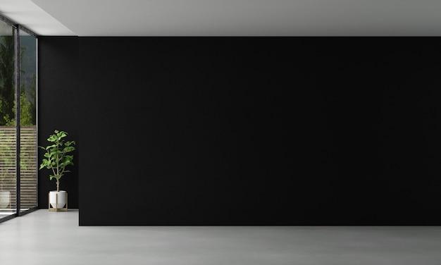 Moderne interieurontwerpkamer en lege woonkamer en zwarte muur