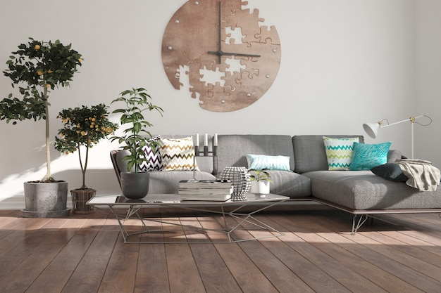 Moderne kamer met bank. interieur ontwerp.