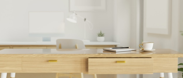 Moderne kantoorruimte met houten tafel en kantoorbenodigdheden, 3d-rendering, 3d-afbeelding