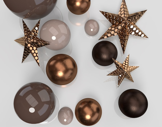 Moderne kerstdecoratie met gouden sterren en ballen