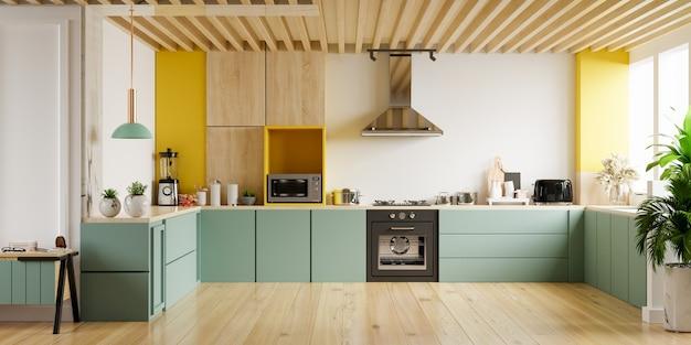 Moderne keuken interieur met meubels. stijlvolle keuken interieur met gele muur. 3d rendering