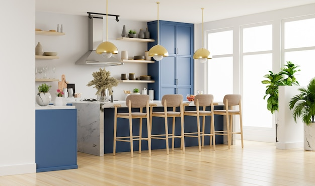 Moderne keuken interieur met meubilair. stijlvolle keuken interieur met witte muur.