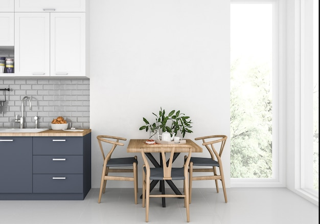 Moderne keuken met blinde muur, kunstwerkachtergrond, binnenlands model