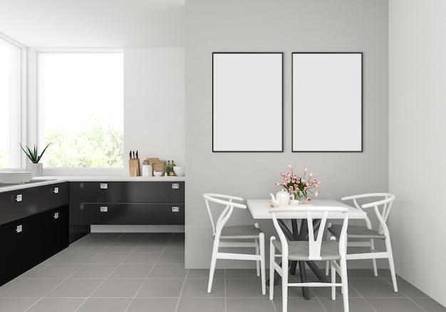 Moderne keuken met lege dubbele frames