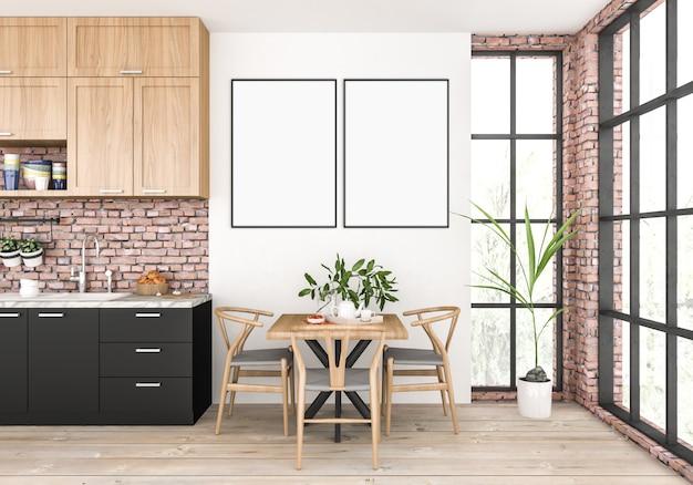 Moderne keuken met lege dubbele frames.