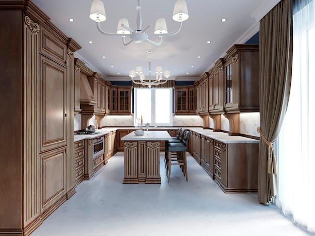 Moderne keukenruimte met nieuwe opbergcombinatie en inbouwapparatuur. 3d-rendering